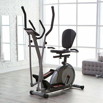 Body Rider 3-in-1 Trio Trainer - Elliptical/Recumbent Bike/Upright Bike, Silver