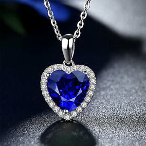 Diamond costume jewellery ebay stunning titanic the heart of the ocean blue diamond style necklace pendant mozeypictures Images