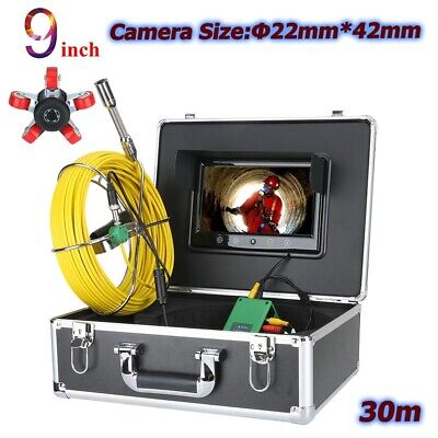 30m Pipe Inspection Camera System Sewer Surveys 9 Lcd Video Endoscope Snake
