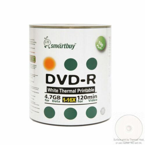 100 Smartbuy 16x Dvd-r 4.7gb White Thermal Hub Printable Blank Recording Disc