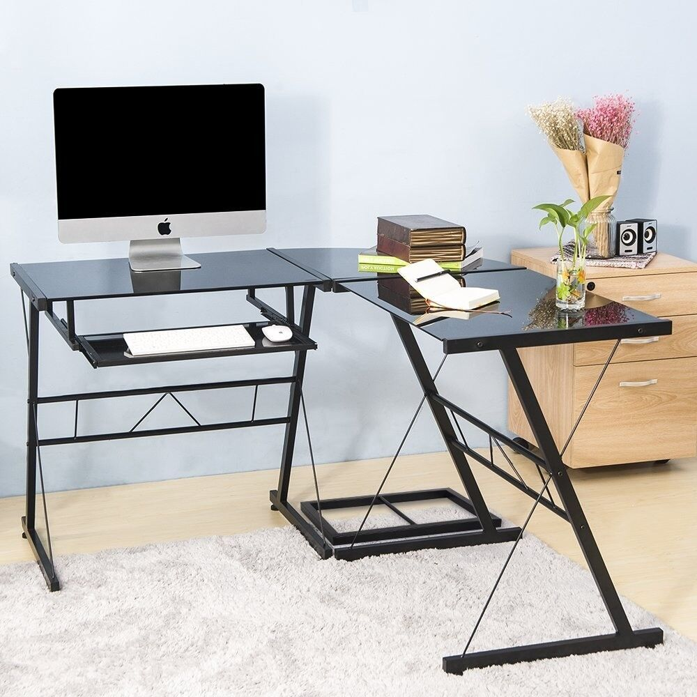 Corner Computer Desk Tempered Glass Simple Style Pc Laptop Table For Home And Office