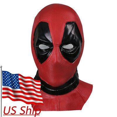 Deluxe Adult Latex Deadpool Mask Cosplay Deadpool Full Face Helmet Handmade New