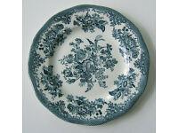 Side Plate 7'' Petrol Blue Asiatic Pheasants Pattern. Maker: Enoch Wedgewood (Tunstall) Ltd.