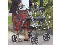 NRS MobilityCare Aluminium Four Wheeled Rollator M39634 Walking Aid - Seat & Shopping Basket