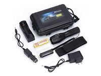G700- 2000LM Zoomable CREE XML T6 18650 Flashlight Torch Zoom Lamp Light+battery+charger+mounts