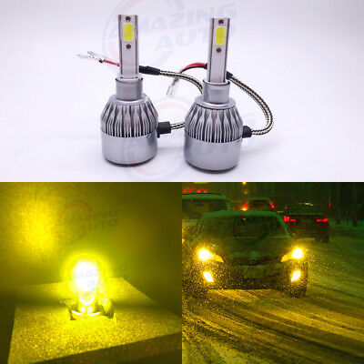 NEW 2x H1 3000K Yellow 8000LM CREE LED Headlight Bulbs Kit High Low Beam Fog DRL for sale  Chino