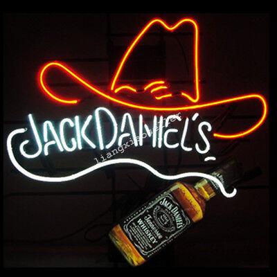 Jack Daniels red Hat REAL GLASS NEON SIGN BEER BAR PUB LIGHT