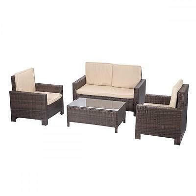 4pc PE Rattan Wicker Sofa Set Cushion Outdoor Patio Sofa Couch Furniture