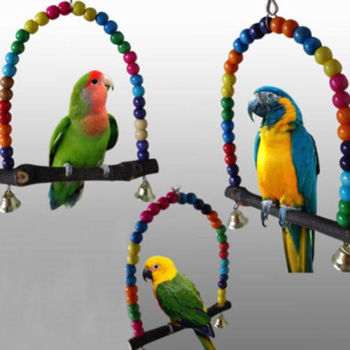 pet swing legno uccello pappagallo gabbia giocattoli per parrocchetti conuro DF8