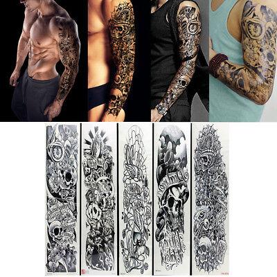 5pcs Temporary Tattoo Waterproof Large Arm Body Art Tattoos Sticker Sleeve Safe