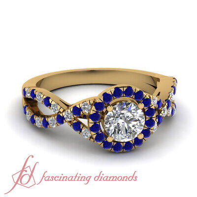 1.50 Carat Round Cut Diamond And Blue Sapphire Twisted Halo Engagement Ring GIA