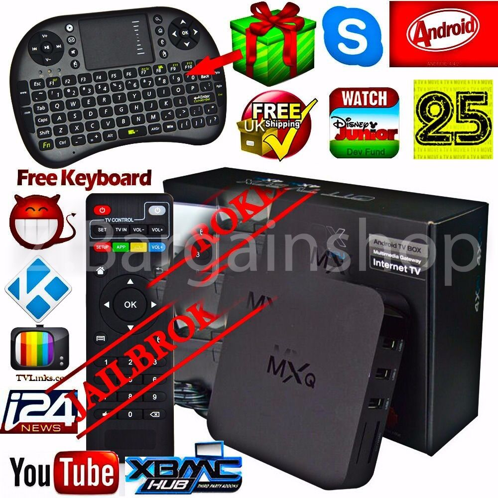 MXQ Quad Core Android 4.4 TV Box KODI(XBMC) New Fully Loaded Free Sports Movies