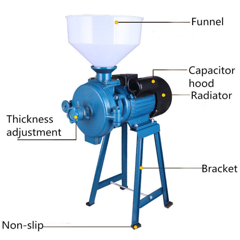 110V 1500W Electric Grinder Feed/Flour Mill Cereals Grain Corn Wheat With Funnel