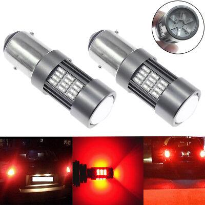 2x1157 BAY15D 54 LED Brake Stop Tail Light Bulb Lamp Red Better Heat