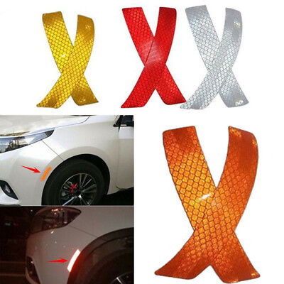 Idea Auto Supplies (2x Car Bumper Reflective Warning Strip Decal Stickers Auto Supplies 14*2.3cm)