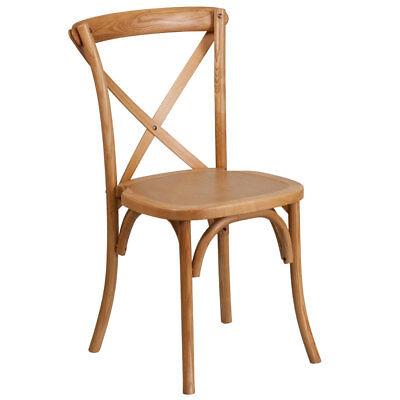 (Flash Furniture Stackable Bistro Chair In Oak Finish XU-X-OAK-GG)
