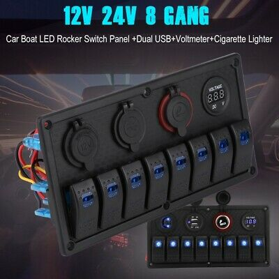 8 Gang Rocker Switch Panel LED Light Voltmeter for Car Marine Boat Vehicle