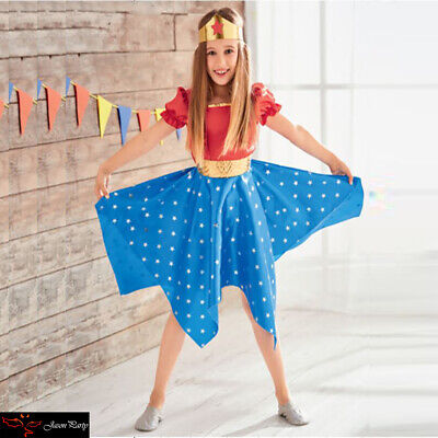 Girls Princess Wonder Woman Costume Cosplay Dress Superhero Outfit Skirt