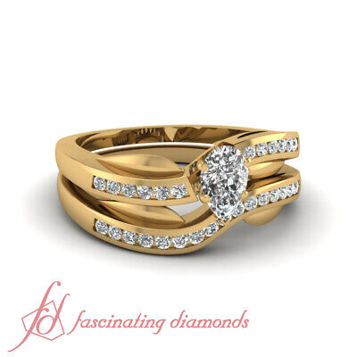 .65 Ct Pear Shaped Delicate Diamond Swirl Style Wedding Rings Channel Set GIA