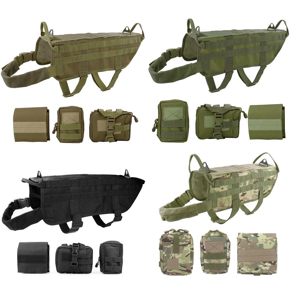 Tactical Dog Hunting Training K9 Molle Vest Harness OR 3 Det