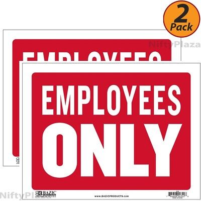 2 Pack - Employees Only Sign 9 Inch X 12 Inch Durable Plastic Weatherproof