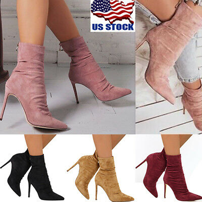 USA Women's Pointed Toe Stiletto High Heel Zip Up Stretch Ankle Boots Shoes (Womens High Stiletto Heel)