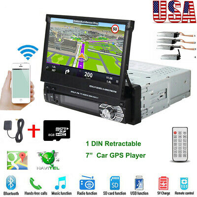 """7"""" Single 1Din GPS Flip Car Stereo Radio BT Player Touch Screen USB SD AUX + Map"""