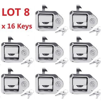 8x Toolbox Lock Stainless Door Key Latch Paddle Handle Rv Trailer 4-38 3-14
