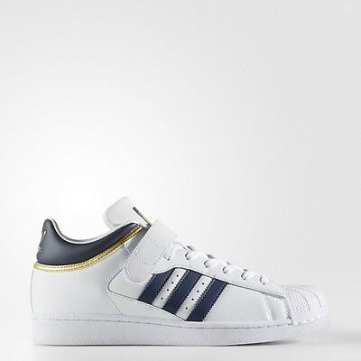 NEW MEN'S ADIDAS ORIGINALS PRO SHELL SHOES  [BY4383]  WHITE//NAVY-GOLD METALLIC