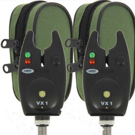 2 x BRAND NEW NGT Black Waterproof BITE Alarms for Carp Fishing + FREE CASE.