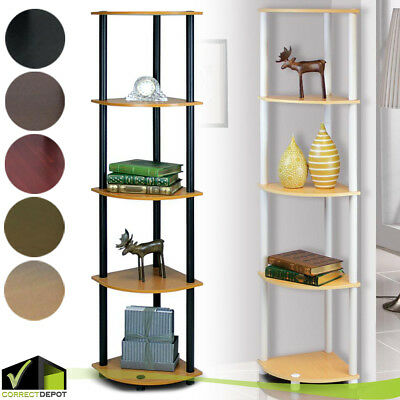 5 Tier Corner Shelf Storage Display Rack Bookcase Wall Office Bathroom Home Unit