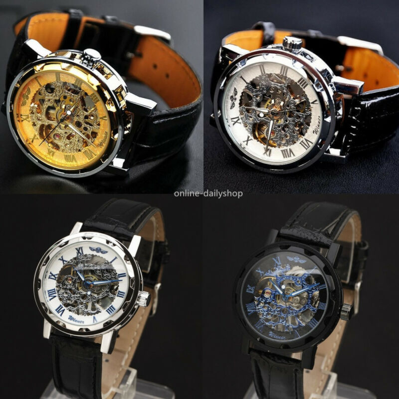 New Men Classic Transparent Steampunk Skeleton Mechanical Stainless Steel