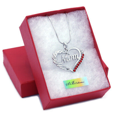 Mothers Day Jewelry (Red Heart MOM Necklace Love Pendant Women Mothers Day Jewelry Gift Charm For)