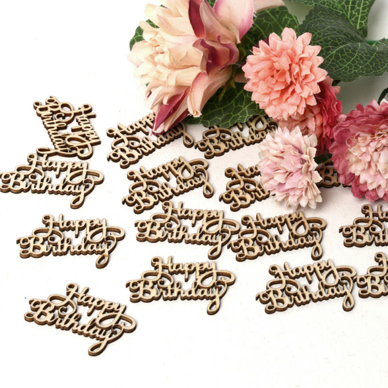 15x Happy Birthday Hollow Out Wooden Slice Hanging Ornaments Home Party Decor LO