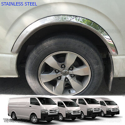 Set Stainless Fender Flares Wheel Arch Fit Toyota Hiace Commuter D4d 2005 2016