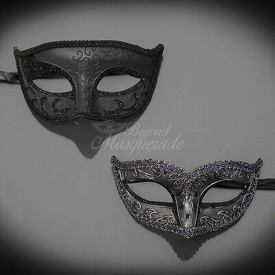 Couples Masquerade Mask, His & Hers Set, Black Masquerade Couple M6107, M1059B