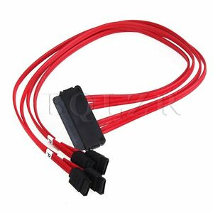 Red SAS SFF-8484 32Pin to 4 SATA 7Pin HDD Controller Fanout Cable 50cm