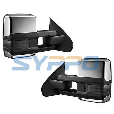 Chrome 14-17 Silverado Sierra Towing Mirrors Power Heated SMOKE LED Turn Signals