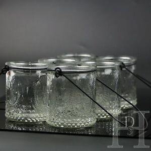 6pcs Vintage Glass Tea Light Candle Holders Hanging Jars Wedding Decoration