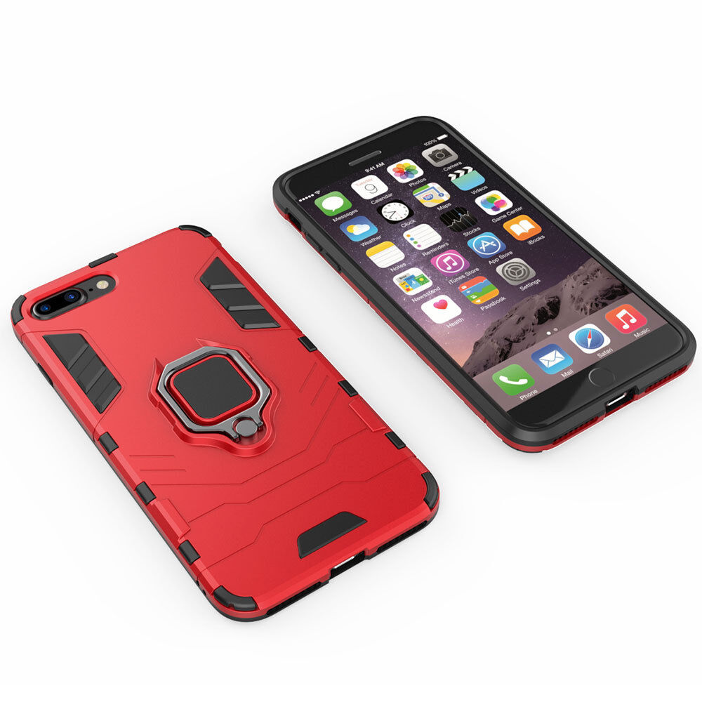 For iPhone xs 6 6S 7 8 Plus Shockproof Ring Stand Rugged Hybrid Armor Case Cover