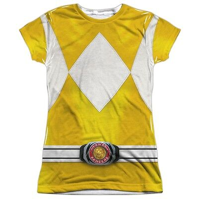 Official Power Rangers TV Show Yellow Costume Outfit Ladies Jr Front T-shirt top