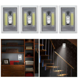 4 X COB LED Wall Switch Wireless Battery Operated Closet Cordless Night  Light