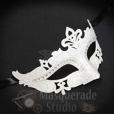 Womens Mardi Gras Festival Venetian Masquerade Mask with Rhinestones [White] (White Mardi Gras Masks)
