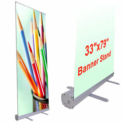 33x79 Retractable Banner Stand Roll Up Pop Up Trade Show Signage Display W Bag
