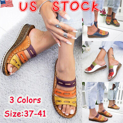 US Summer Womens Wedge Heel Slip On Summer Mules Sandals Slippers Shoes Size - Slipper Heel