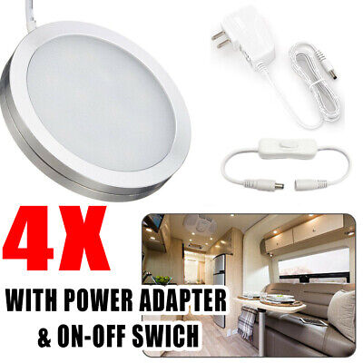 4X 12 LED Spot Light Fitting Cupboard Display Kitchen Showcase Lamp +Plug+Switch