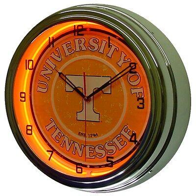 "University of Tennessee Volunteers 16"" Orange Neon Lighted Wall Clock Chrome"