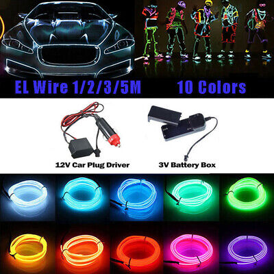 Led El Wire (Neon LED Light Glow EL Wire String Strip Rope Tube Decor Car)