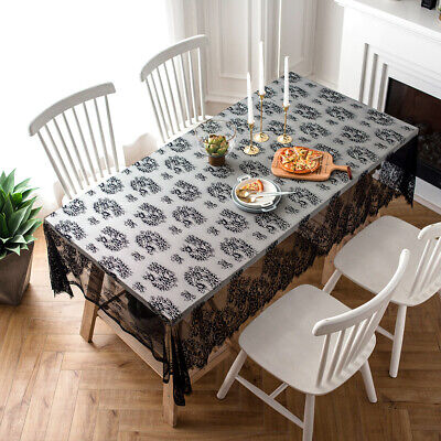 Black And White Halloween Table Decorations' (Lace Tablecloth Table Cover Decoration Christmas Halloween 57