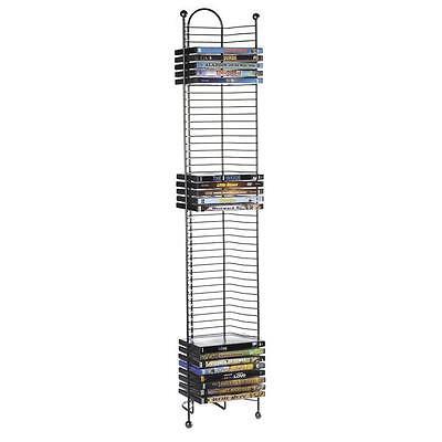 52 DVD Blu-Ray Tower Stand Media Storage Holder Gray Steel Rack Shelf Organizer